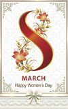 March 8 Women`s day. Greeting card with flower. Beautiful postcard from 8 March with lilies in a frame with an ornament. Vector illustration Stock Images