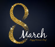8 march women`s day greeting card. Gold glitter. Royalty Free Stock Photos