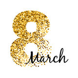8 march women`s day greeting card. Gold glitter. Royalty Free Stock Photography