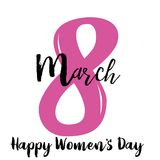 8 March. Women`s day greeting card  with hand lettering text . Vector.  vector illustration