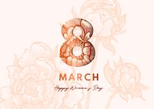 8 March. Women`s Day Greeting card. Paper cut style. Great golden design for newsletter, brochures, postcards, tickets. Advertisements, banners royalty free illustration