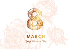 8 March. Women`s Day Greeting card. Paper cut style. Great golden design for newsletter, brochures, postcards, tickets. Advertisements, banners Stock Image
