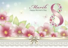 March 8 Women`s Day greeting card with pink flowers. Greeting card with a flowers and butterflies decorated with ribbon with bow Stock Photography