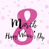 8 March. Women`s day greeting card with pink handwritten text on flower background. Vector.  vector illustration