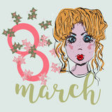 8 March Women s Day greeting card template Royalty Free Stock Images