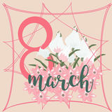8 March Women s Day greeting card template Royalty Free Stock Photo