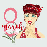 8 March Women s Day greeting card template Stock Photo
