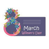8 March Women`s Day greeting card template with beautiful flower Stock Images