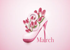 8 March Women`s Day greeting card template concept. tulip flower. S and high hee shoes Royalty Free Stock Photo