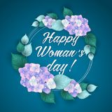 8 March Women s Day greeting card template. With flowers stock illustration