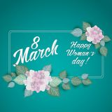 8 March Women s Day greeting card template. With flowers royalty free illustration