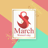 8 March Women`s Day greeting card template Royalty Free Stock Images