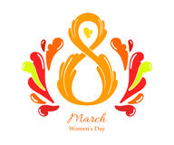 8 March Women`s Day greeting card template Stock Photo