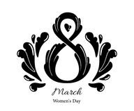 8 March Women`s Day greeting card template. Isolated on white background Stock Photography