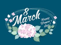 8 March Women s Day greeting card template. With flowers vector illustration