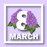8 March Women`s Day greeting card template. Number 8 on a background of lilac branches. Congratulations on March 8. 8 March Women`s Day greeting card template royalty free illustration
