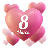 8 March Women`s Day greeting card template . Pink ballon heart , Love . Vector illustration of hearts. 8 March Women`s Day greeting card template Royalty Free Stock Image
