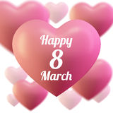 8 March Women`s Day greeting card template . Pink ballon heart , Love . Vector illustration of hearts. 8 March Women`s Day greeting card template Stock Photo