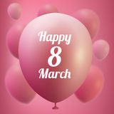 8 March Women s Day greeting card template . Pink ballon ,vector illustration Stock Image
