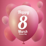 8 March Women s Day greeting card template . Pink ballon ,vector illustration Royalty Free Stock Images