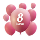 8 March Women s Day greeting card template . Pink ballon ,vector illustration Royalty Free Stock Photos