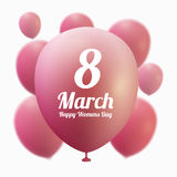 8 March Women s Day greeting card template . Pink ballon ,vector illustration Stock Photo