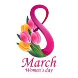 8 March Women's Day greeting card template Royalty Free Stock Image