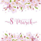 8 March - Women's Day Greeting Card. Template - in vector Stock Photo