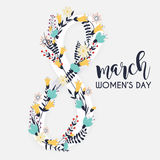 8 March. Women`s Day greeting card template. Stock Photo