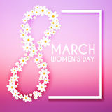 8 March. Women`s Day greeting card template. Royalty Free Stock Photos