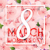 8 March. Women`s Day greeting card template. Stock Images