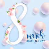 8 March. Women`s Day greeting card template. Stock Photos