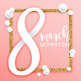 8 March. Women`s Day greeting card template. Stock Image