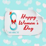 March Women`s Day greeting card template with vector pink hearts and paper on background.  Stock Photos