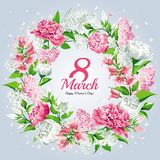 8 March8 March Women`s Day greeting card template. Watercolor style with lettering design. Pink and white flowers: Peonies, Lilacs. Images for your design royalty free illustration