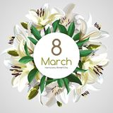 8 March Women`s Day greeting card template. White flowers isolated on light background. Image for your design projects Vector Illustration