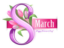 8 march women`s day greeting card. Tulip flowers and ribbon. Royalty Free Stock Photography