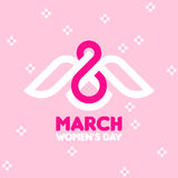 8 March women`s day greeting card with white bird and number 8. 8 March women`s day greeting card with white bird and number eight on pink floral background vector illustration