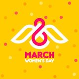 8 March women`s day greeting card with white bird and number 8. 8 March women`s day greeting card with white bird and number eight on yellow background with Vector Illustration