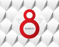 8 march Women's Day greeting card on white. Royalty Free Stock Images