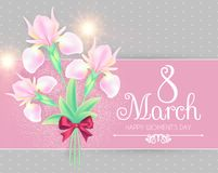 8 March. Women`s Day Greeting and Invitation with Soft Flowers. Cute Card Design Template for Birthday, Anniversary. Wedding, Baby and Bride Shower and so on stock illustration