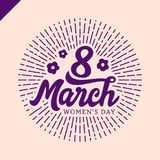 8 March Women`s day greeting lettering with flowers and place for your text Vector Illustration Royalty Free Stock Photography