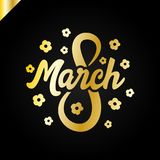 8 March Women's day greeting lettering with flowers and place for your text Vector Illustration Stock Photos