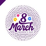 8 March Women`s day greeting lettering with flowers and place for your text Vector Illustration Royalty Free Stock Photo