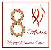8 March Women`s Day Greeting with Pink Roses in Frame. International women`s day greeting card stock illustration