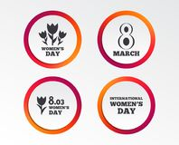 8 March Women`s Day icons. Bouquet of flowers. 8 March Women`s Day icons. Tulips or rose flowers bouquet sign symbols. Infographic design buttons. Circle Stock Photos