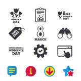 8 March Women`s Day icons. Bouquet of flowers. 8 March Women`s Day icons. Tulips or rose flowers bouquet sign symbols. Browser window, Report and Service signs Stock Photos