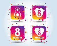 8 March Women`s Day icons. Flower, heart symbols. 8 March Women`s Day icons. Tulip or rose flower and heart sign symbols. Colour gradient square buttons. Flat stock illustration