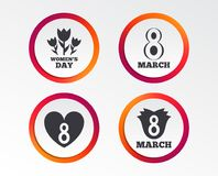 8 March Women`s Day icons. Flower, heart symbols. 8 March Women`s Day icons. Tulips or rose flowers bouquet and heart sign symbols. Infographic design buttons Stock Photos
