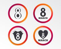 8 March Women`s Day icons. Flower, heart symbols. 8 March Women`s Day icons. Tulip or rose flower and heart sign symbols. Infographic design buttons. Circle Stock Image